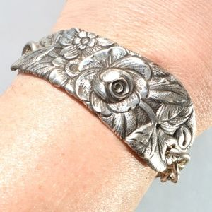 Floral Victorian Sterling Silver Cuff Bracelet 925